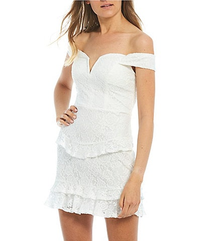 City Vibe Off-The-Shoulder Lace Ruffled Tiered Skirt Dress