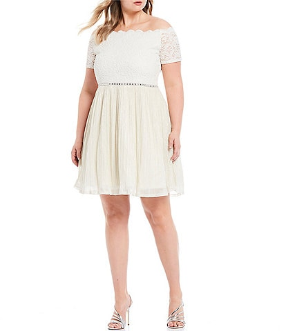 City Vibe Plus Off-The-Shoulder Scalloped Lace Party Dress