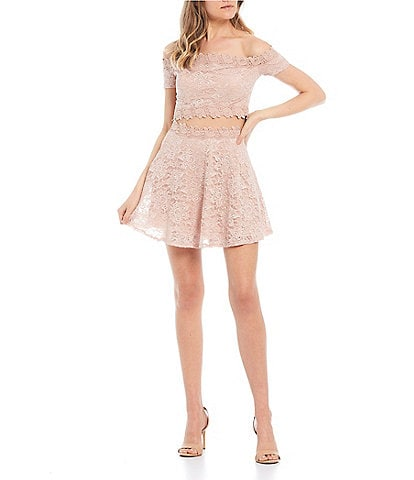 City Vibe Off-the-Shoulder Top With Lace Skirt Two-Piece Dress