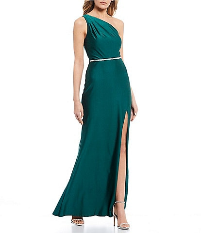 City Vibe One Shoulder Beaded Waist Side Slit Stretch Satin Long Dress