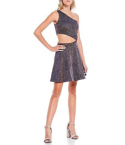 City Vibe One-Shoulder Cut-Out Waist Metallic Shine Fit-and-Flare Dress