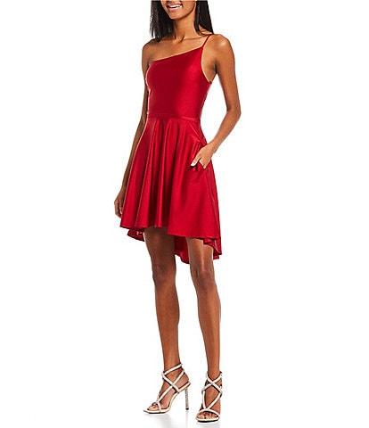 City Vibe Sleeveless One-Shoulder Smooth Satin Hi-Low Dress