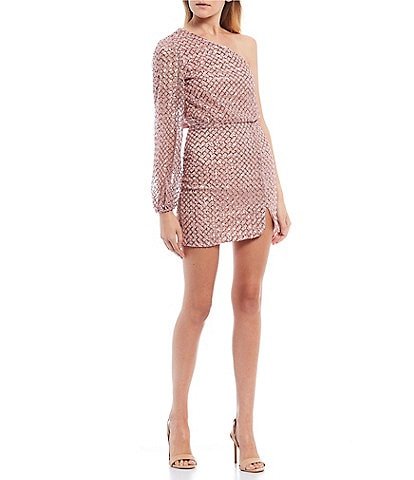 City Vibe One-Sleeve Sequin Mesh Two-Piece Dress