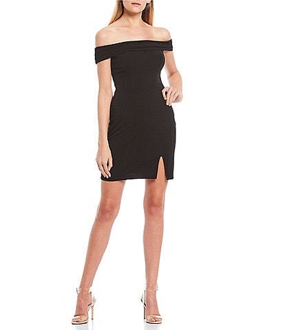 City Vibe Pleated Off-the-Shoulder Side-Slit Sheath Dress