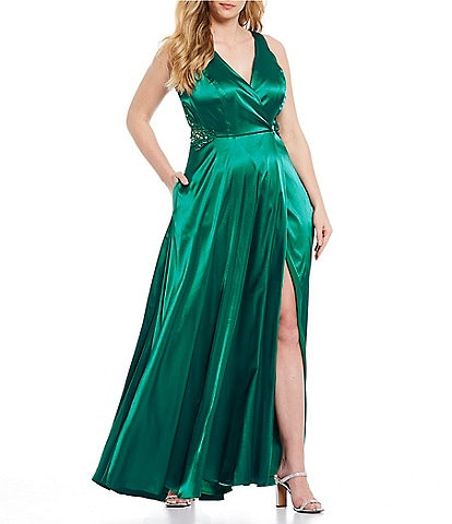 City Vibe Plus Embroidered High Side Slit Satin Wrap Long Dress