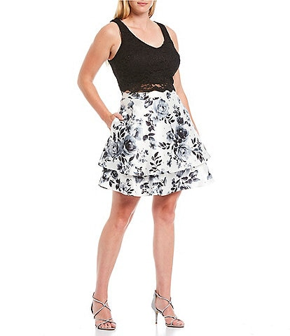 City Vibe Plus Lace Tank Top with Floral Skirt Two-Piece Dress