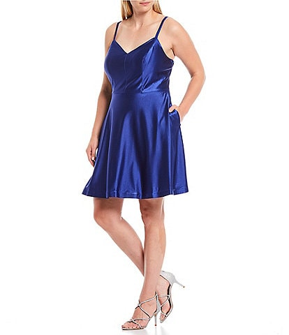 City Vibe Plus Power Satin Fit-and-Flare Dress