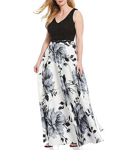 City Vibe Plus Sleeveless Lace Top with Floral Skirt Two-Piece Long Dress