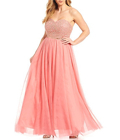 City Vibe Plus Strapless Sweetheart Beaded Embroidered Bodice Mesh Ball Gown