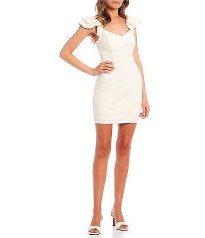 City Vibe Ruffled Cap-Sleeve X-Back Sheath Dress