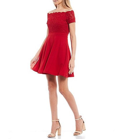 City Vibe Scalloped Off-The-Shoulder Lace Scuba Crepe Skater Dress