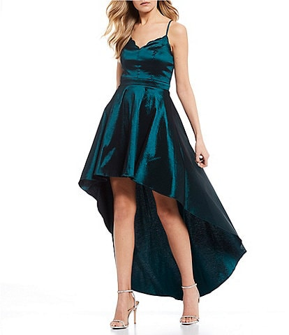City Vibe Scalloped V-Neckline Stretch Taffeta Long High-Low Dress