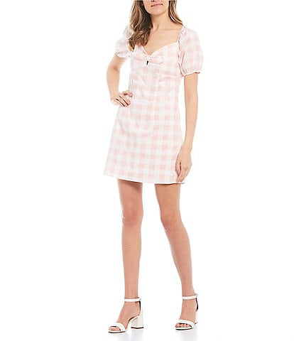 City Vibe Short Puff Sleeve Tie-Front Gingham Dress