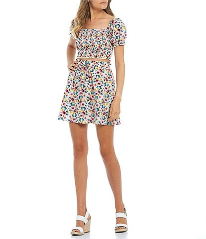 City Vibe Short Puff Sleeves Floral Poplin Two-Piece Dress