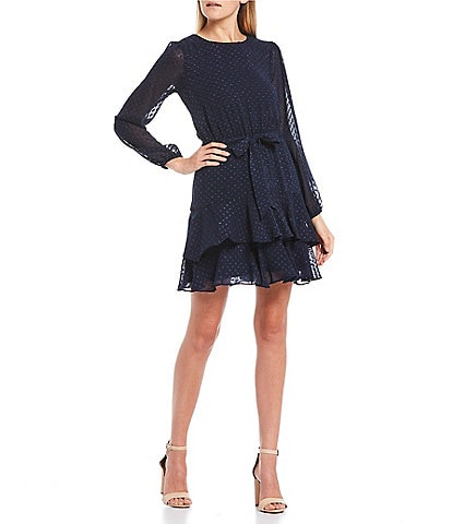 City Vibe Long Sleeve Clip Dot Double Ruffle Hem Dress