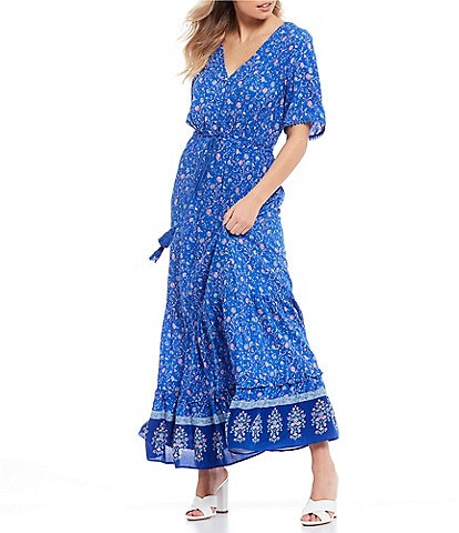 City Vibe Short Sleeve Floral Print Button-Front Maxi Dress