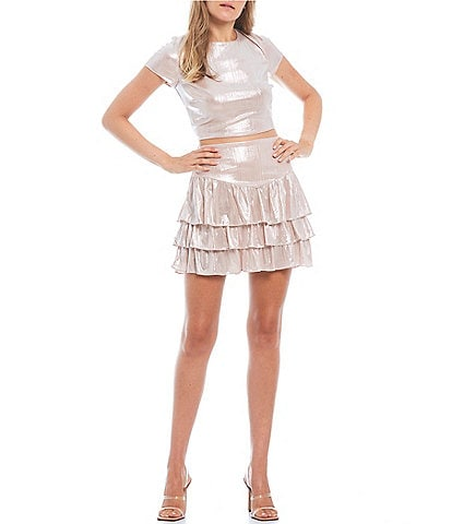 City Vibe Short-Sleeve Shine Ruffled Tiered Skirt Dress Coordinating Two-Piece
