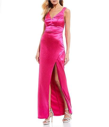 City Vibe Sleeveless Rhinestone Back Straps High Side-Slit Long Dress