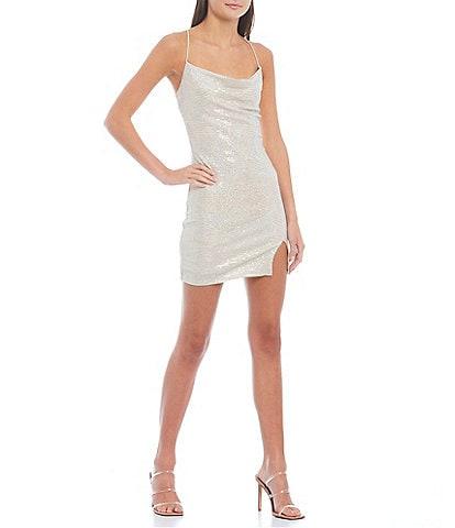 City Vibe Sleeveless Cowlneck Sequin-Embellished Metallic-Knit Sheath Dress