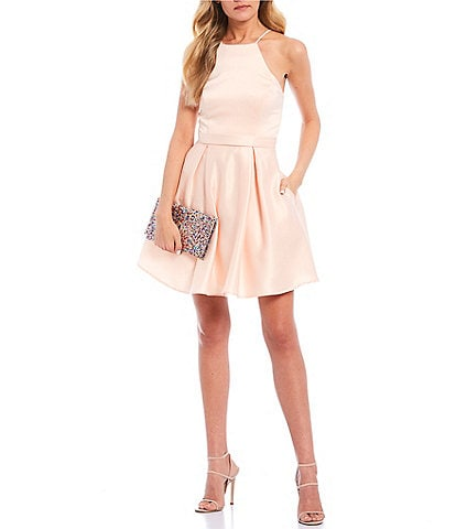 City Vibe Sleeveless Halter Neck Satin Fit-and-Flare Dress