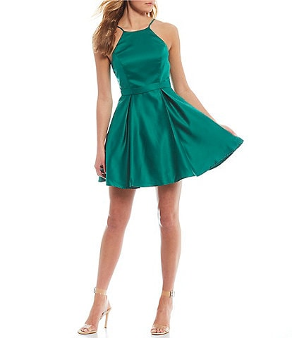 City Vibe Sleeveless High-Neck Satin Fit-and-Flare Dress