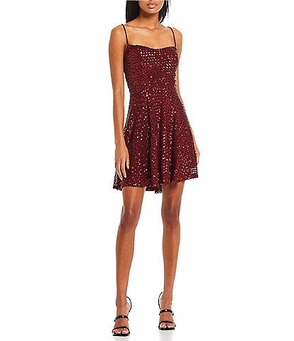City Vibe Sleeveless Lace-up-Back Chunky Sequin-Embellished Fit-And-Flare Dress