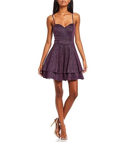 City Vibe Sleeveless Sweetheart Neck Lace-Up-Back Glitter Knit Double Hem Fit-And-Flare Dress