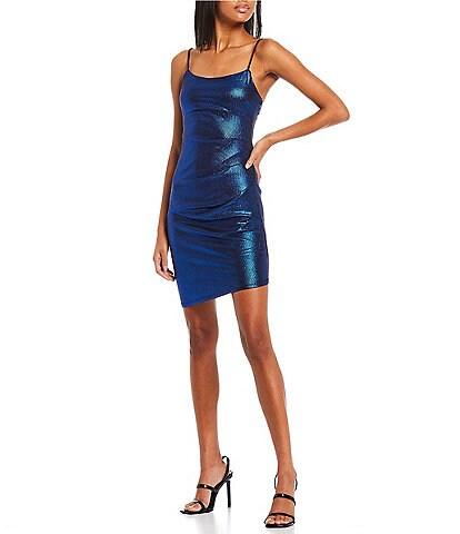 City Vibe Sleeveless Lace-up-Drape-Back Metallic Stretch Sheath Dress