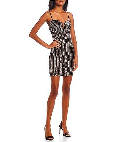 City Vibe Sleeveless Striped Sequin-Embellished Shift Dress