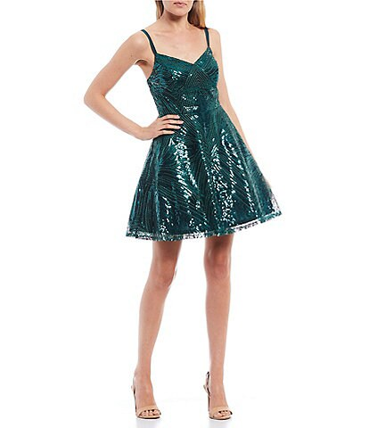 City Vibe Spaghetti Strap Iridescent Sequin Beaded Fit & Flare Dress