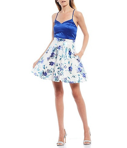City Vibe Spaghetti Strap Bow-Back Floral Foiled Fit-and-Flare Dress