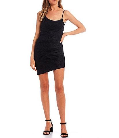 City Vibe Spaghetti Strap Cowl-Neck Ruched Glitter Knit Dress