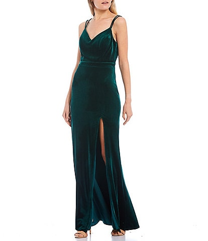 City Vibe Spaghetti Strap Lace-Back High Front Slit Velvet Long Dress
