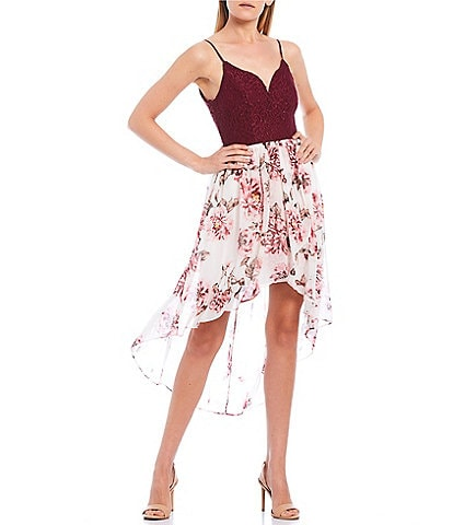 City Vibe Spaghetti Strap Lace Bodice Floral High-Low Dress