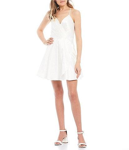 City Vibe Spaghetti Strap Lace-Bra-Back Satin Faux Wrap Dress