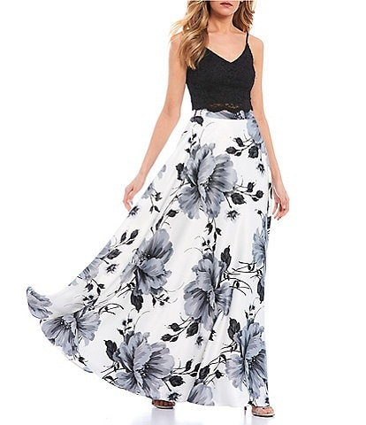 City Vibe Spaghetti Strap Lace Top with Floral Skirt Two-Piece Dress