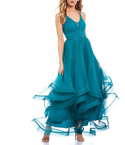 City Vibe Spaghetti Strap Lace Top with Horsehair Mesh Layered Skirt Two-Piece Dress