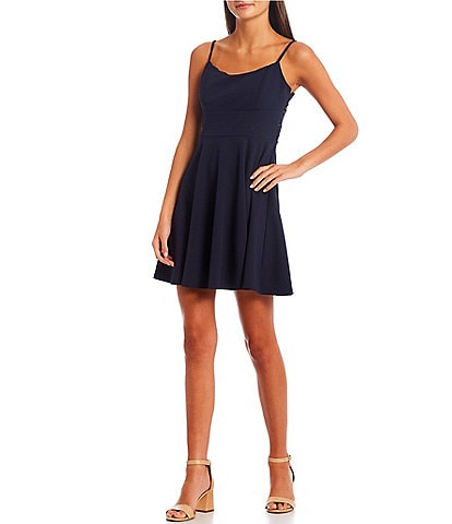 City Vibe Spaghetti Strap Square Neck Lace Back Fit-and-Flare Dress