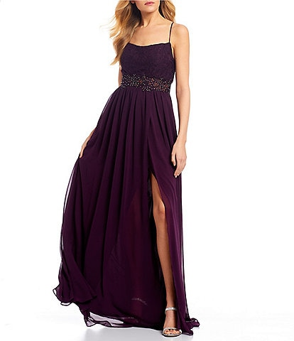 City Vibe Spaghetti Strap Square-Neck Side Slit Long Dress