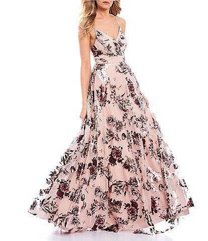 City Vibe Spaghetti Strap Surplice Floral Foiled Mesh Ball Gown