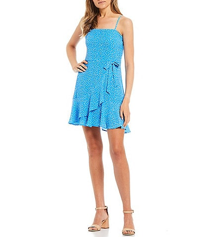 City Vibe Spaghetti Strap Tie-Waist Printed Ruffled Faux-Wrap Dress