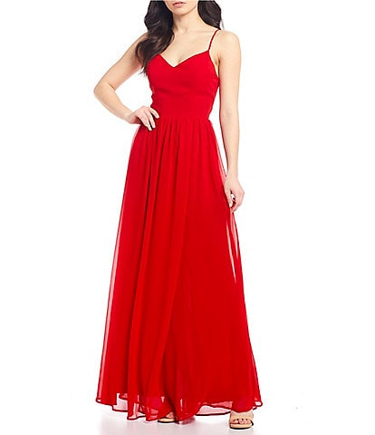 City Vibe Spaghetti Strap V-Neck Chiffon Long Dress