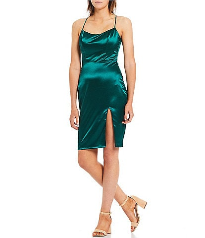 City Vibe Spaghetti Strap X-Back Satin Slit Dress