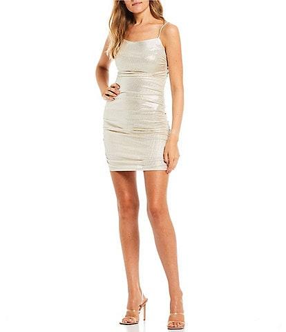 City Vibe Spaghetti Straps Cowl-Neck Ruched Metallic Shine Slim Dress