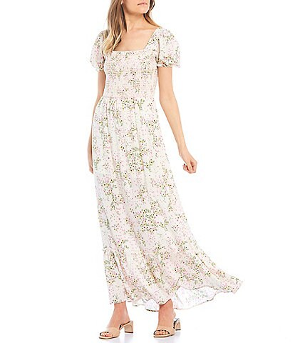 City Vibe Square-Neck Floral Print Tiered Skirt Maxi Dress