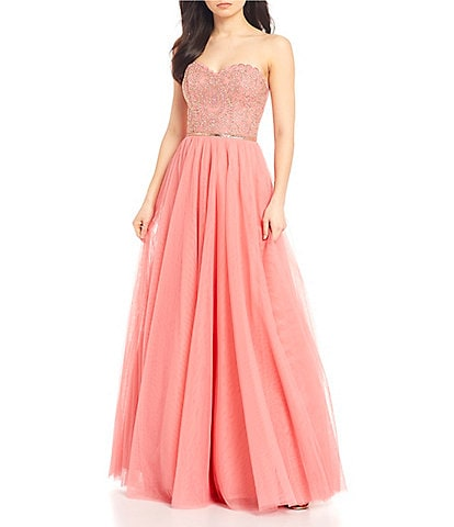 City Vibe Strapless Embroidered Bodice Mesh Ball Gown