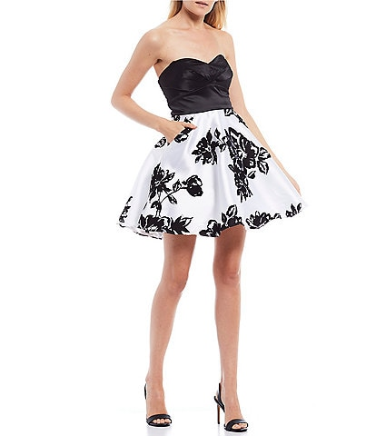 City Vibe Strapless Floral Print Satin Flocked Fit & Flare Dress