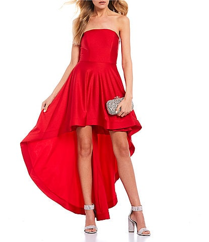 City Vibe Strapless Satin Long High-Low Dress