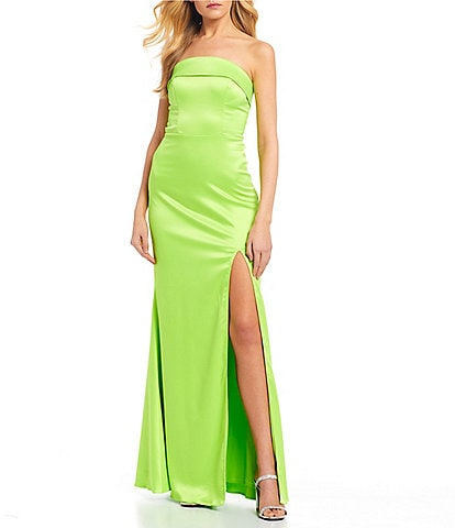 City Vibe Strapless Side Slit Satin Long Dress