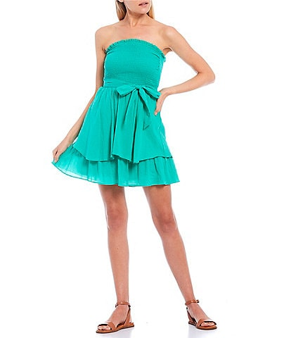 City Vibe Strapless Smocked Bodice Tiered Skirt Gauze Dress